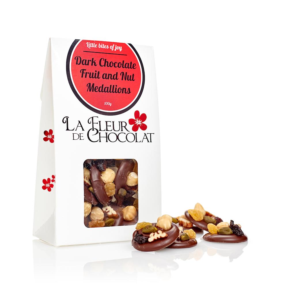 Dark Chocolate Fruit and Nut Medallions