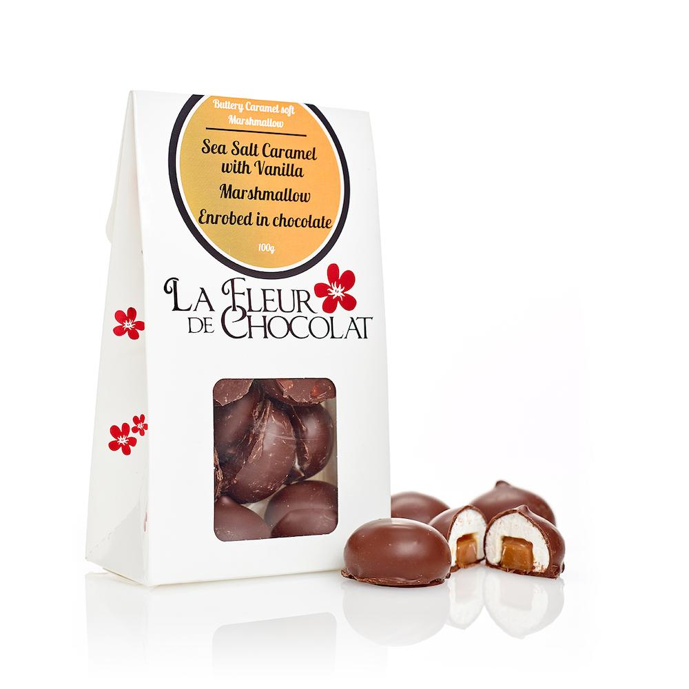 Sea Salt Caramel with Vanilla Marshmallow Enrobed in Chocolate . 2
