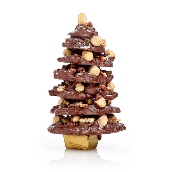 Milk chocolate fruit and nut christmas tree