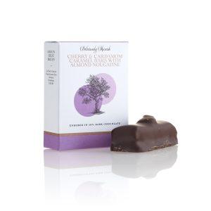 Cherry & Cardamom Caramel Chocolate Bars with Almond Nougatine